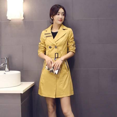 Mssefn 2015秋季女装新款 时尚翻领双排扣中长款风衣外套 配腰带