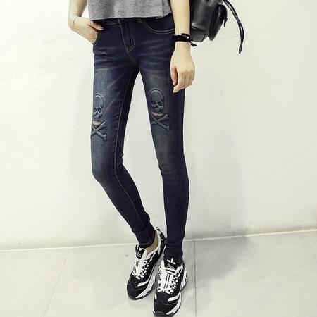 mssefn秋季新款韩版个性深色显瘦骷髅头牛仔裤女学生长裤C213 A9119