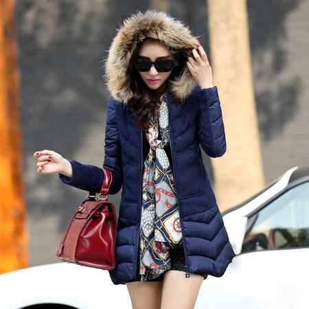 mssefn2014冬装新款外套韩版女装羽绒棉棉衣配真毛领YLMY33