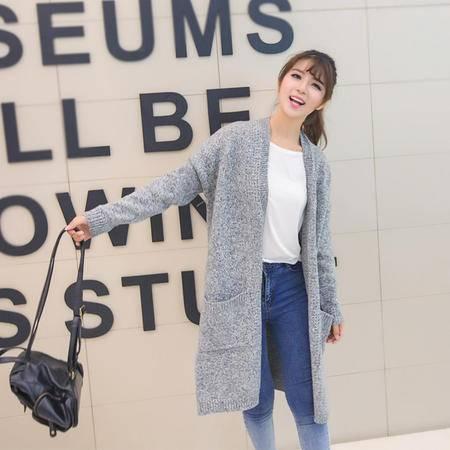 mssefn2015秋装新款韩版女装无领开衫中长款毛衣外套5506