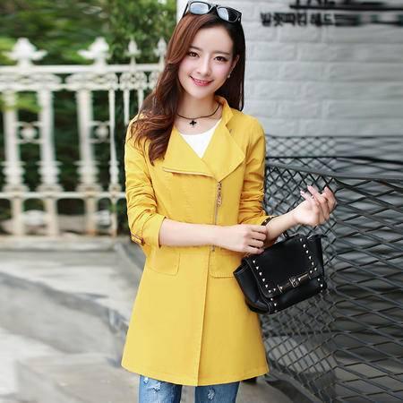 Mssefn 2015秋季女装新款精致翻领韩版修身纯色风衣外套