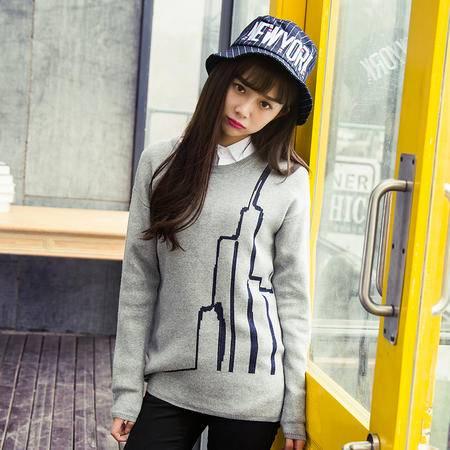 mssefn【女装类目】2015秋冬新款 情侣圆领套头毛衣针织衫 811-MY06