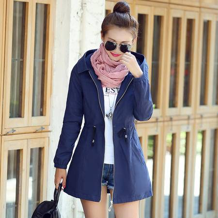 mssefn2015秋季女装新款经典连帽中长款韩版时尚修身风衣外套80920