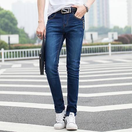 mssefn牛仔裤纽扣装饰男士修身小脚裤男韩版牛仔长裤111-9004