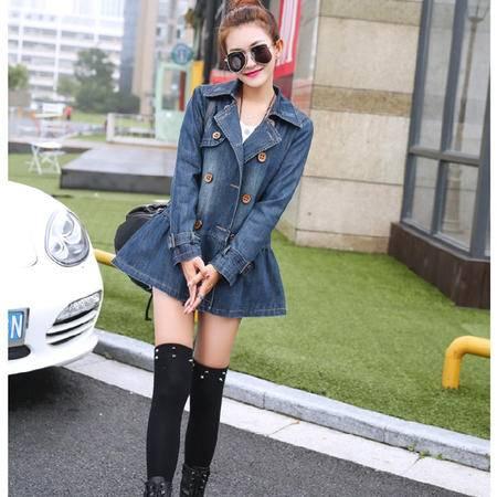 mssefn2015秋冬装新款中长双排扣大翻领牛仔风衣外套 韩版牛仔衣802