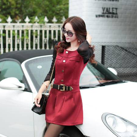 mssefn2015秋季新款韩版修身背心裙无袖连衣裙打底裙A032