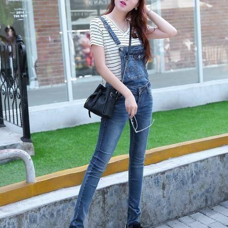 mssefn2015时尚新款秋季女装 韩版女士秋装牛仔裤背带裤长裤YS1260