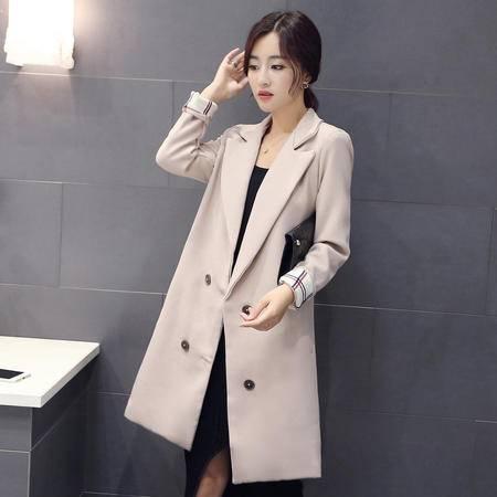 mssefn2015秋季新款女韩版小香风修身外套中长款风衣H230