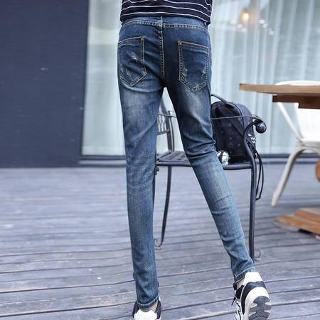 mssefn2015年秋冬装新品 做旧磨破中腰牛仔裤 小脚牛仔长裤1266