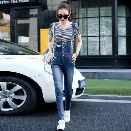 mssefn2015女秋季韩版休闲牛仔裤修身小脚裤背带牛仔裤Y636