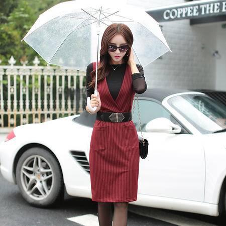 mssefn2015秋季新款韩版修身条纹背心裙无袖连衣裙打底裙A030
