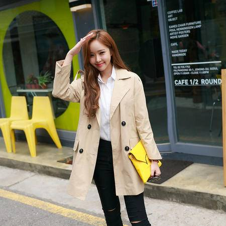 mssefn2015秋装新款韩版女装大翻领休闲中长款风衣外套 H307