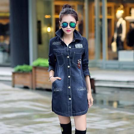 mssefn2015新款秋季韩版女装时尚百搭中长款秋装新品牛仔风衣YS6608