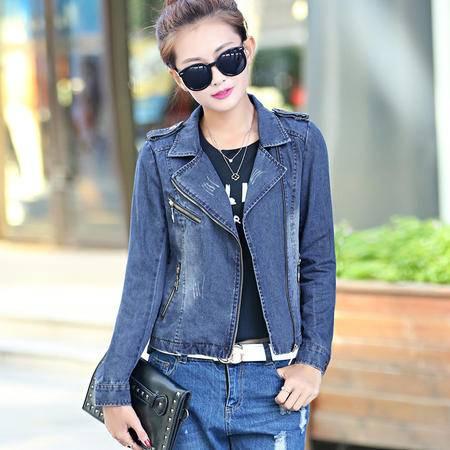 mssefn2015秋季时尚新款韩版女装 女士修身秋装牛仔短外套YS8607