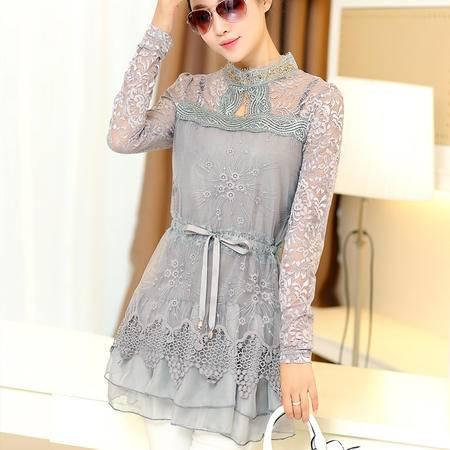 mssefn2015秋季女装新款精致镶钻立领抽绳修身钩花蕾丝连衣裙81203