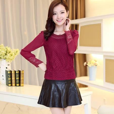 Mssefn 2015秋季女装新款精致钉珠圆领长袖 甜美气质蕾丝小衫