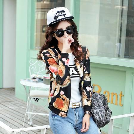 mssefn 2015秋装新款韩版女装圆领印花棒球服 3382