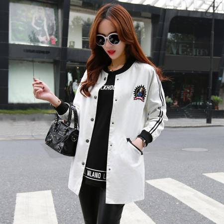 mssefn2015秋季新款女装韩版休闲印花外套 拼接中长款风衣潮YHC9903