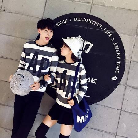 mssefn2015学院风韩版修身条纹套头情侣卫衣男卫衣W14-