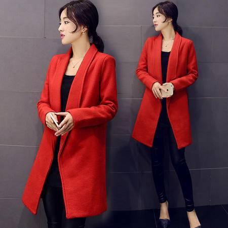 mssefn2015秋冬季新款韩版中长款毛呢外套Y560