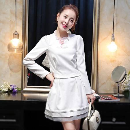 Mssefn 2015秋季新款套装女长袖荷叶领上衣a字半身裙两件套