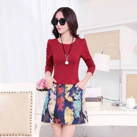 Mssefn 2015秋季新款韩版女装针织提花时尚气质秋装连衣裙