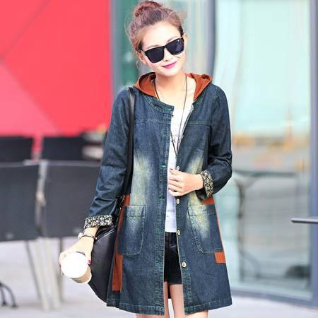 Mssefn 2015秋季时尚新款韩版女装 女士中长款秋装牛仔外套