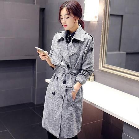 Mssefn 2015欧洲站新款时尚韩版修身中长款风衣秋季双排扣外套女