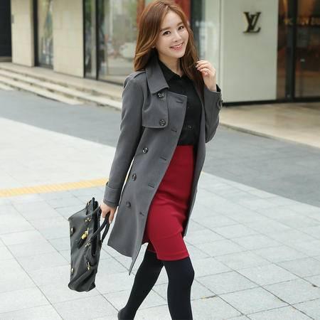 Mssefn 2015女装新款加厚绑带双排扣风衣