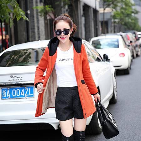 Mssefn 2015秋冬季新款卫衣韩版中长款女宽松加绒长袖外套