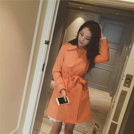 Mssefn 2015秋装韩国新款3色气质大牌双排扣口袋腰带风衣女