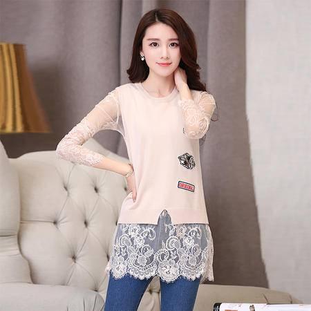 Mssefn 2015秋季新款女装时尚韩版修身中长款秋装雪纺衫两件套