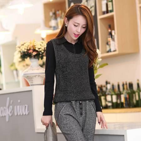 Mssefn 2015秋季新款女装时尚修身中长款秋装毛衣上衣假两件套