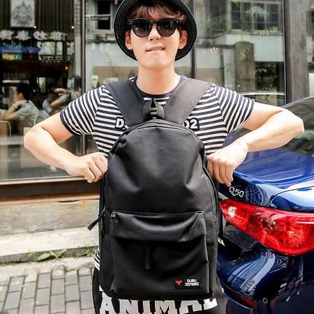 Mssefn 2015热卖 韩版时尚原宿纯黑色男士双肩背包高中学生书包