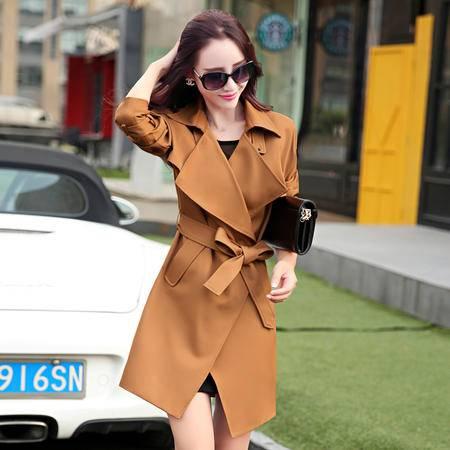 Mssefn 2015新品韩版时尚淑女气质中长款 女士大翻领风衣外套配腰带