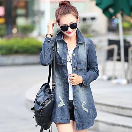 Mssefn 2015秋季时尚新款韩版女装 中长款女士秋装牛仔外套