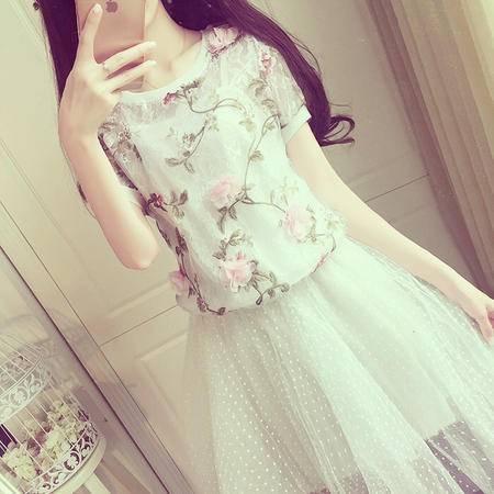 Mssefn 2015甜美小清新 淑女立体花朵上衣