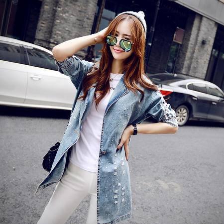 Mssefn 2015韩版女装秋装新款翻领破洞个性中长款牛仔外套