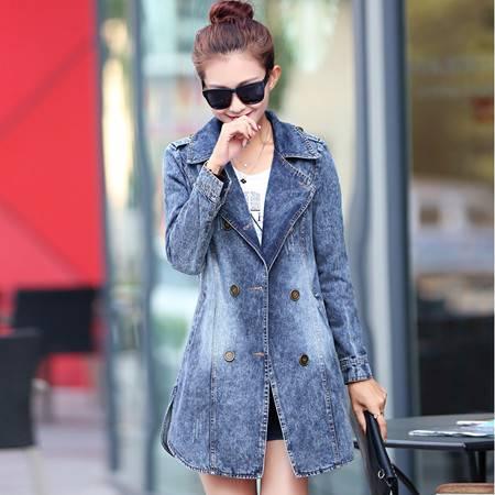 Mssefn 2015秋季时尚新款韩版女装 中长款秋装女士牛仔外套