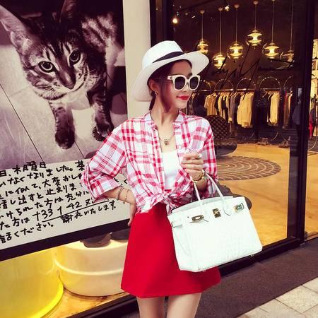 mssefn2015秋装新款韩版气质潮款街拍BF风格纹立领衬衫女C19
