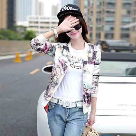 mssefn2015秋装新款韩版女装圆领印花棒球服 9503