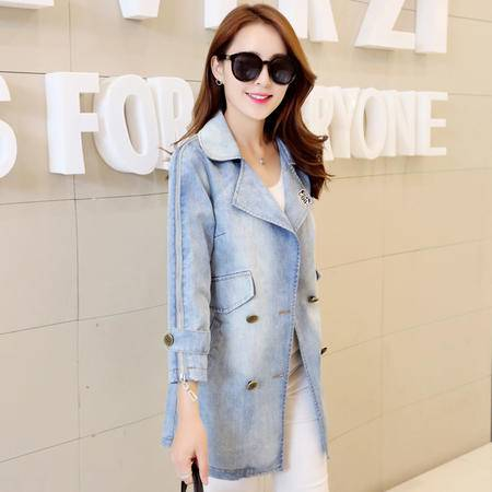 mssefn2015新款韩版中长款牛仔服秋季牛仔外套女Y636