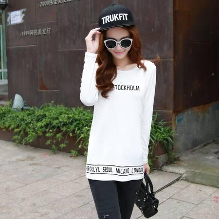 mssefn秋 新款韩版时尚清新拼接字母印花修身圆领百搭上衣T恤 潮b47