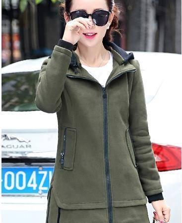 Mssefn 2015秋冬新款韩版修身连帽开衫保暖外套加绒加厚卫衣