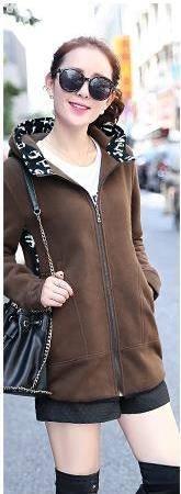 Mssefn 2015新款韩版加厚加绒外套连帽开衫中长款秋冬卫衣