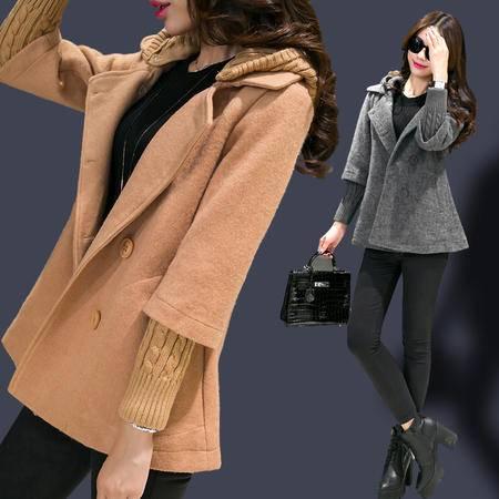Mssefn2015冬 韩时尚甜美连帽拼接双排扣修身中长款昵外套可拆卸领jk71