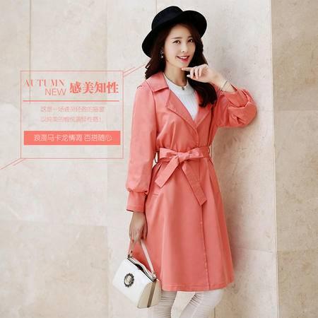 Mssefn2015秋冬季女装新款韩版时尚中长款休闲风衣 配腰带100712