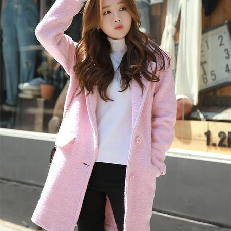 Mssefn2015秋冬新款粉色羊毛呢外套呢子大衣YF2079-308