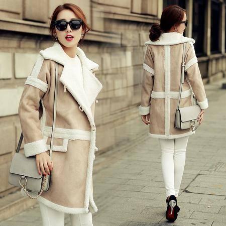 Mssefn2015冬韩时尚清新女神范撞色拼接口袋纽扣中长款修身风衣外套jk68