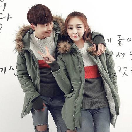 Mssefn2015秋冬新款韩版时尚手套设计情侣连帽棉衣外套y299